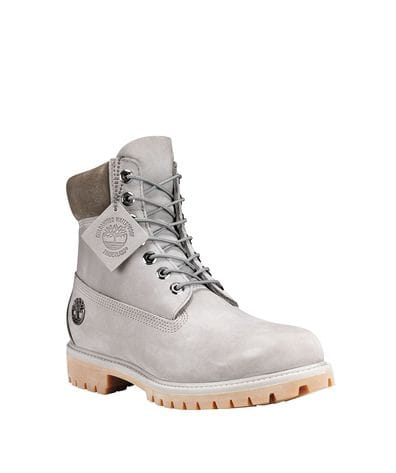 Timberland Men's 6 in Premium Waterproof Boot in Medium Grey Nubuck