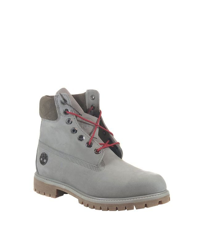 Timberland Men's 6 in Premium Waterproof Boot in Medium Grey Nubuck