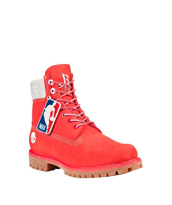Timberland Men's X NBA Houston Rockets Boots in Red Nubuck
