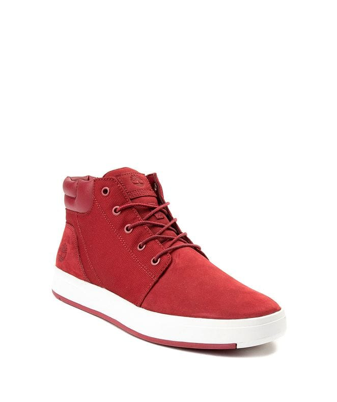 Timberland Men's Davis Square Mixed-Media Chukka  Shoes in Burgundy Nubuck