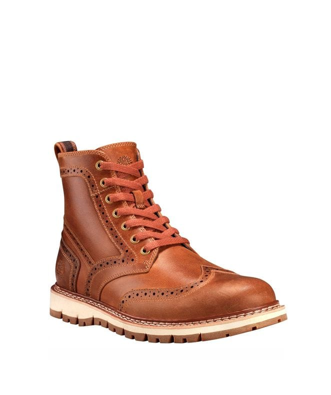 Timberland Men's Britton Hill Wing Tip Boot in Mid Brown