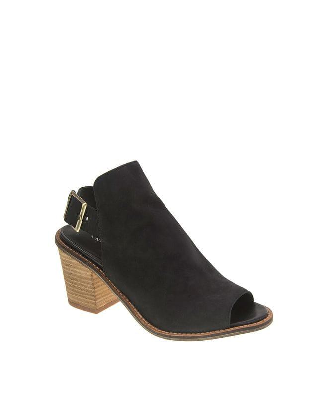 Women's Caleb Leather Heeled Sandal in Black