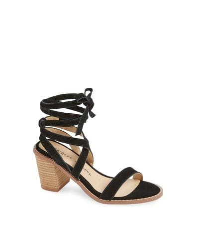 Chinese Laundry Women's Calvary Split Sue Heeled Sandal in Black