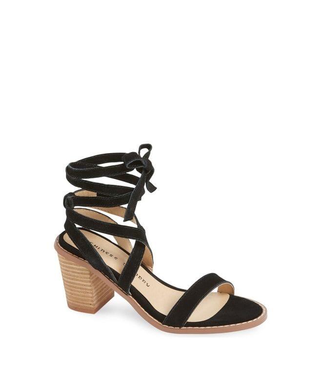 Calvary Women's Split Sue Heeled Sandal in Black