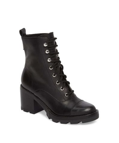 Marc Fisher LTD Wanya Lace Up Ankle Boot in Black Leather