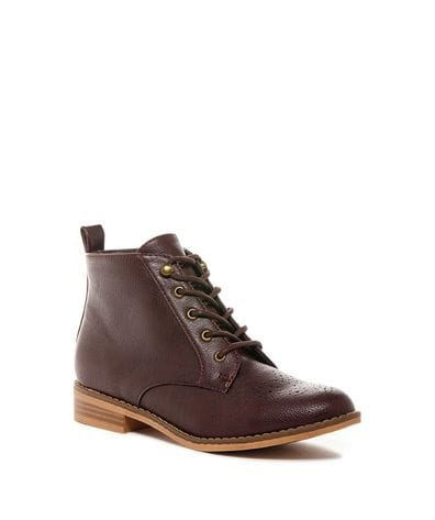 Rocket Dog Women's Meno Tiff Pu Ankle Bootie in Burgundy