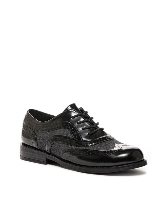 Milwood Boxed in Pu Tuxedo Women's Oxford in Black