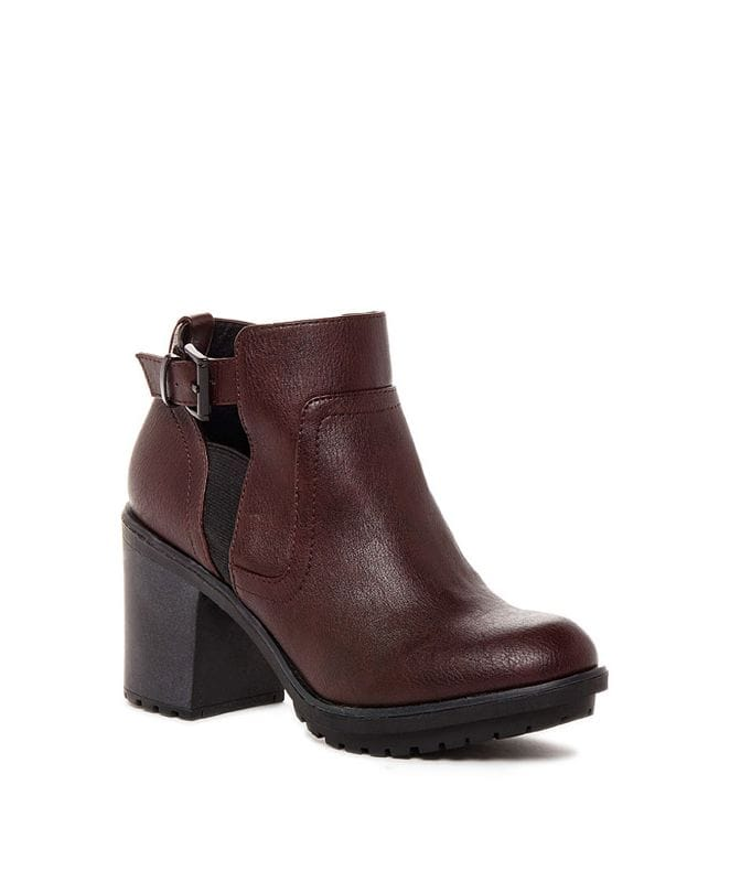 Rocket Dog Women's Reese Lewis Fabric Ankle Bootie in Burgundy