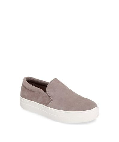 Steve Madden Gills Women's Fashion Slip-On Sneaker in Grey Suede
