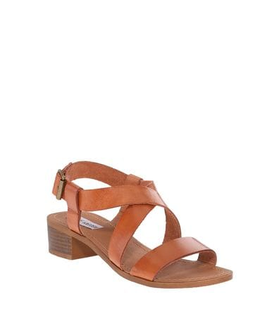 Steve Madden Womens Lorelle Heeled Sandal in Cognac Leather
