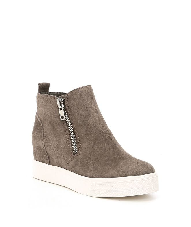 Steve Madden Women's Wedgie Sneaker in Grey Suede