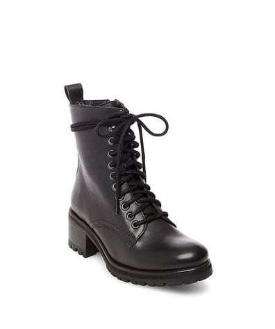Steve Madden Women's Geneva Combat Boots in Black Leather