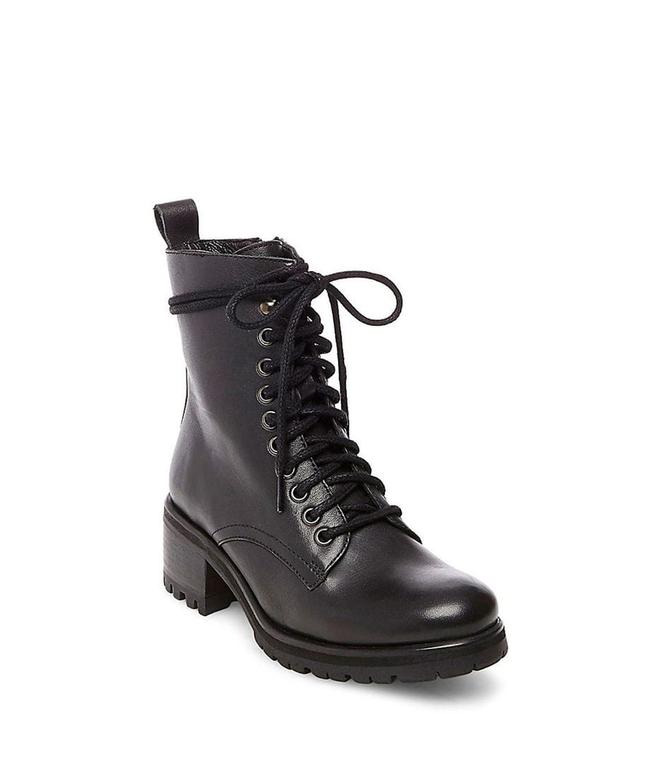 2c561f5f9700 Steve Madden Women's Geneva Combat Boots in Black Leather