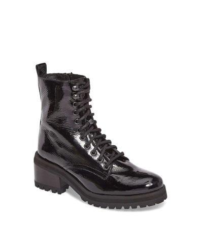 Steve Madden Women's Geneva Combat Boots in Black Patent