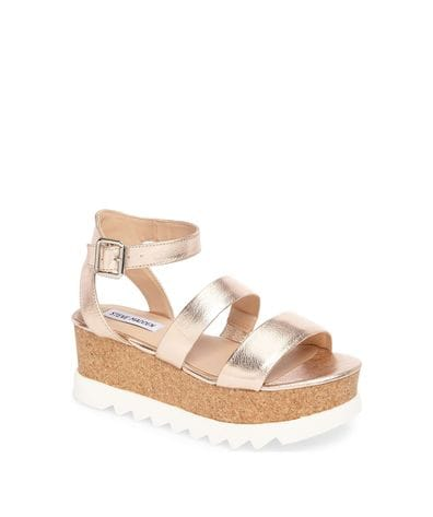 Steve Madden Kirsten Women's Wedge Sandal in Rose Leather