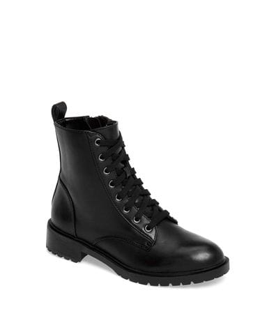 Steve Madden Women's Officer Combat Boot in Black Leather