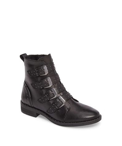 Steve Madden Women's Pursue Buckle Boot in Black Leather