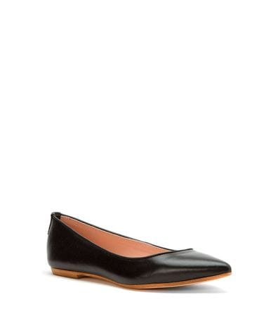 Summit By White Mountain Women's Kamora Italian Flat in Black Leather