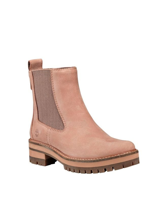 Timberland Women's Courmayeur Valley Chelsea Boots in Beige Nubuck