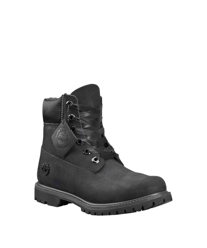 Timberland Women's 6-inch Premium Waterproof Boots in Black Nubuck
