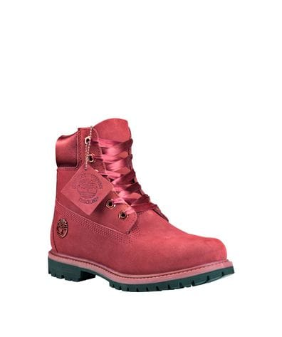 Timberland Women's Premium Waterproof Satin Collar Boots in Burgundy